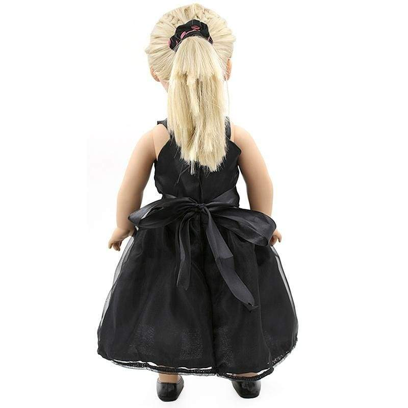 Black Dress Doll Clothes Fits 18' American Girl Dolls Handmade Black Party Dress