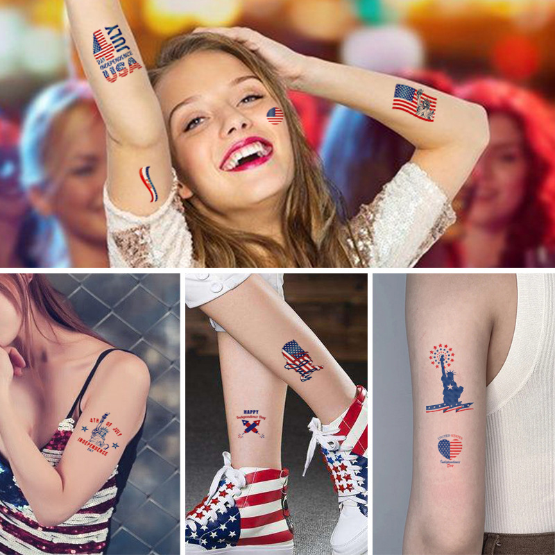 10 Sheets💝 Independence Day Tattoo Stickers