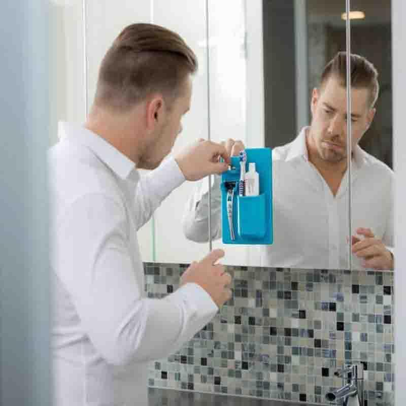 SKRTEN Silicone Toothpaste Toothbrush Razor Holder Storage Rack Wall Seamless Sticker