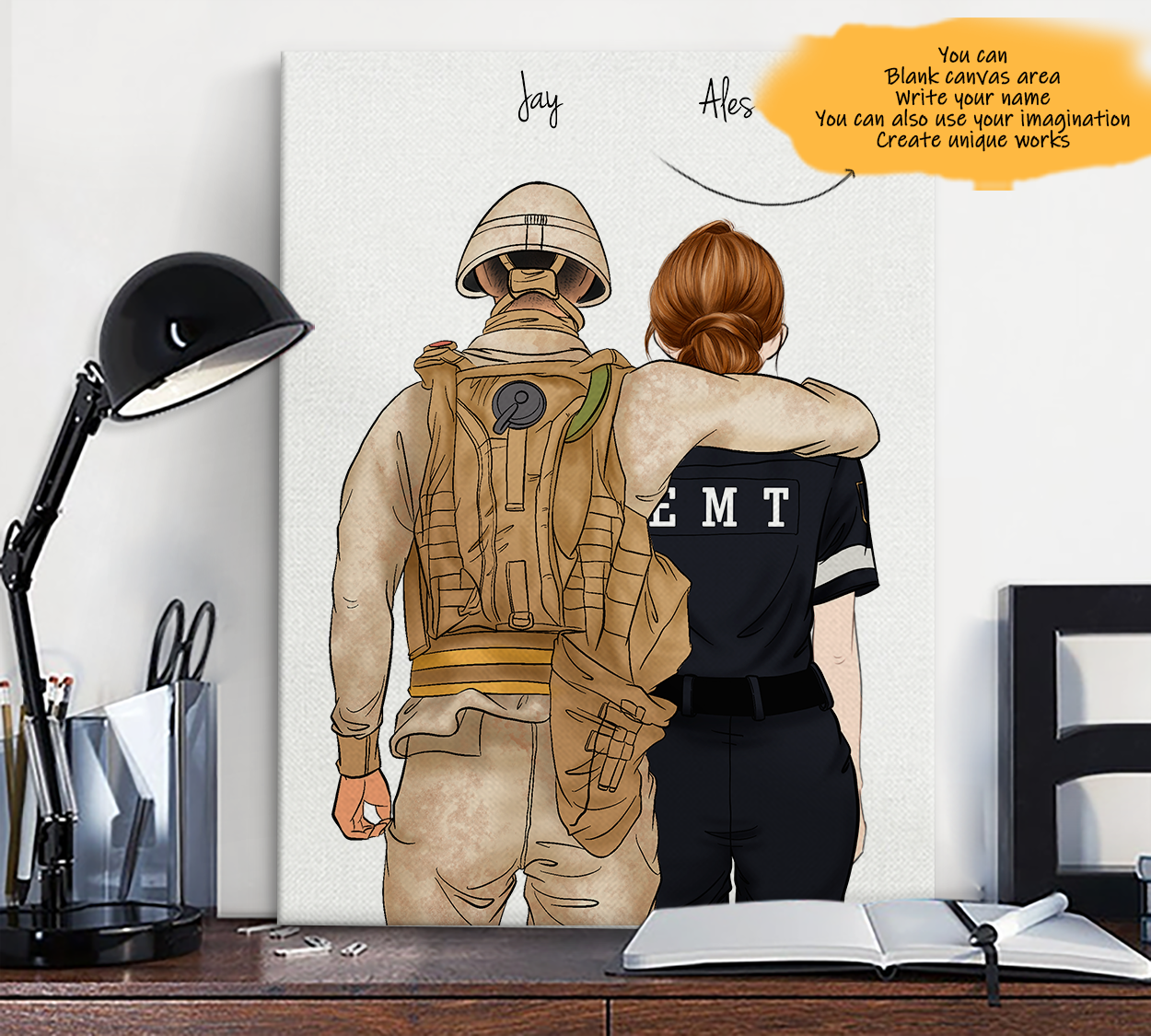 He is My Friend! Hand Draw Custom Canvas-Print Gift Soldier-Tan&EMT