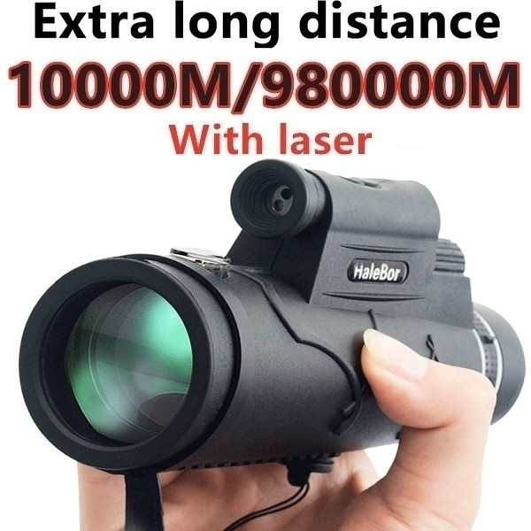 Extra Long 10000M/990000M Compass Flashlight+infrared Distance Night Vision High - Angle Monocular Telescope Laser Outdoor Hiking Travel Portable Telescope Fashion Accessories Tool