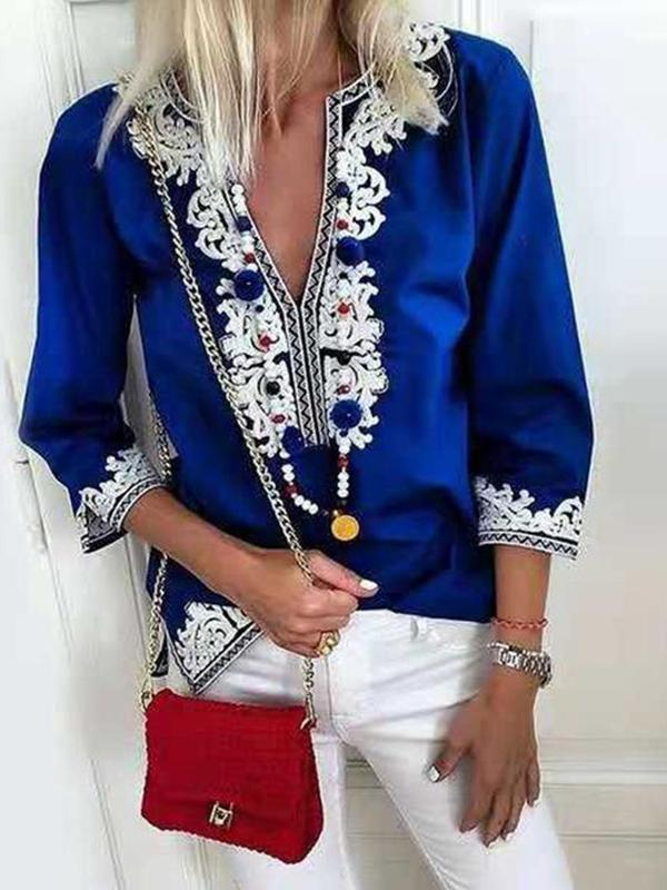 Ethnic style fashion lace casual blouse