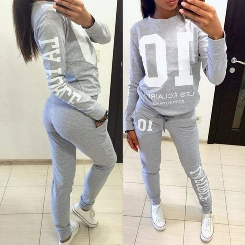 Women Sport Long Sleeve Casual Suit Lady Fashion Letter Print Sweatshirt+ Long Pants 2 Pieces Set Sportwear