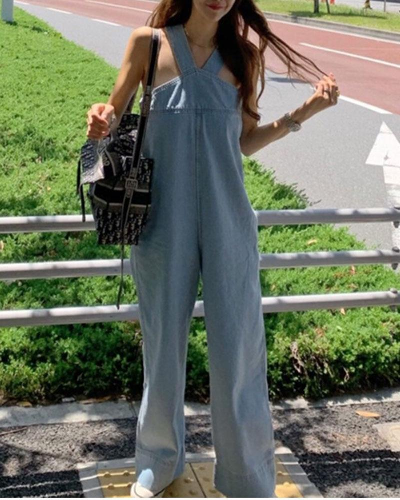 Suspenders Wide-leg Denim Jumpsuit Loose Jeans Wide Leg