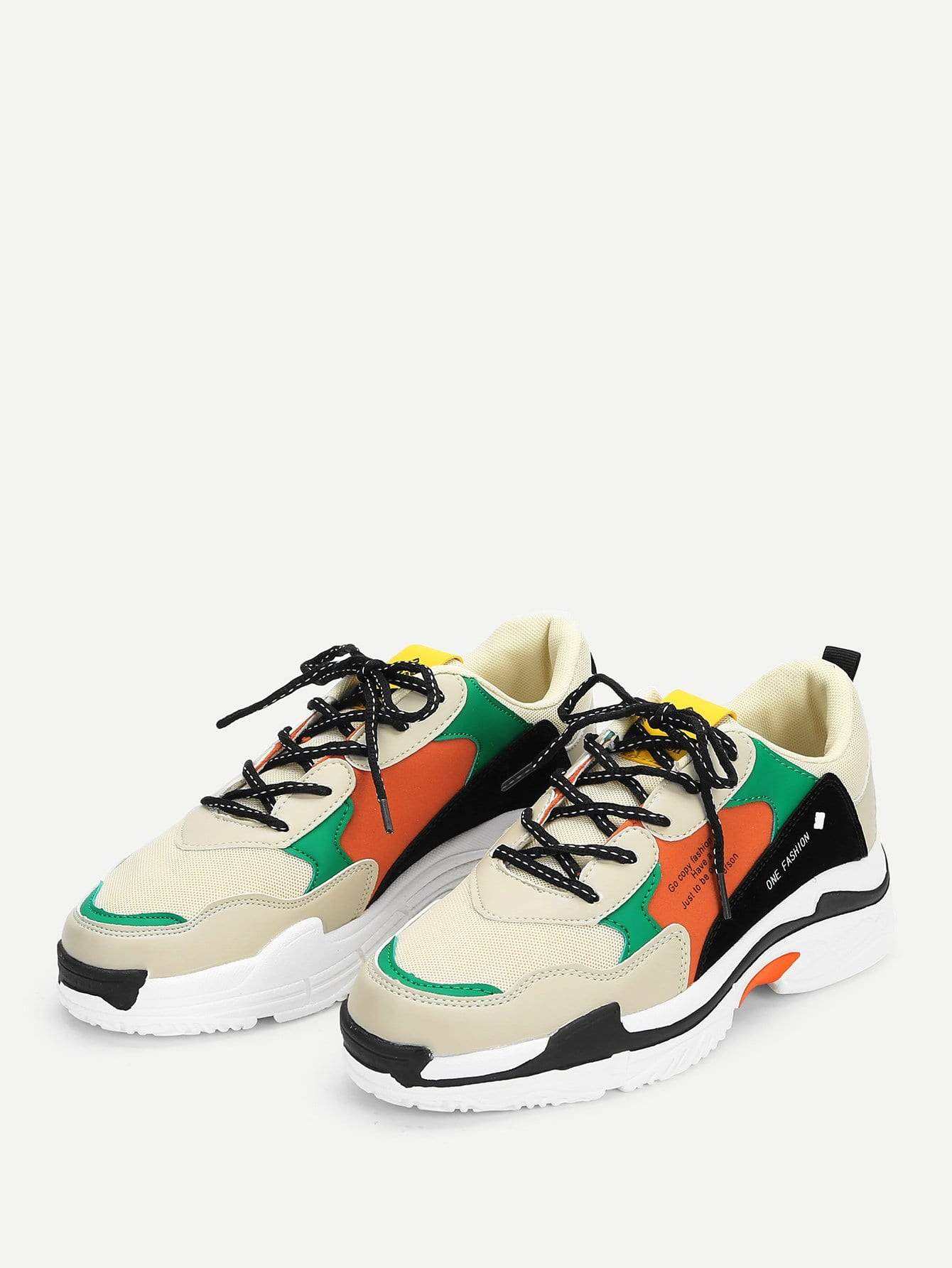 Men Mesh Panel Lace Up Sneakers - 义乌