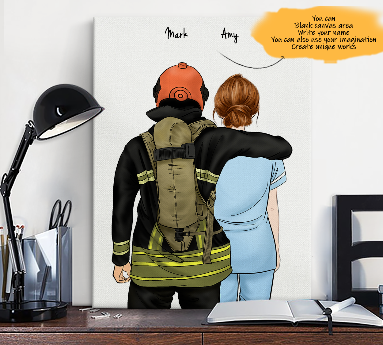 He is My Friend! Hand Draw Custom Canvas-Print Gift Fireman-Light&Paramedic