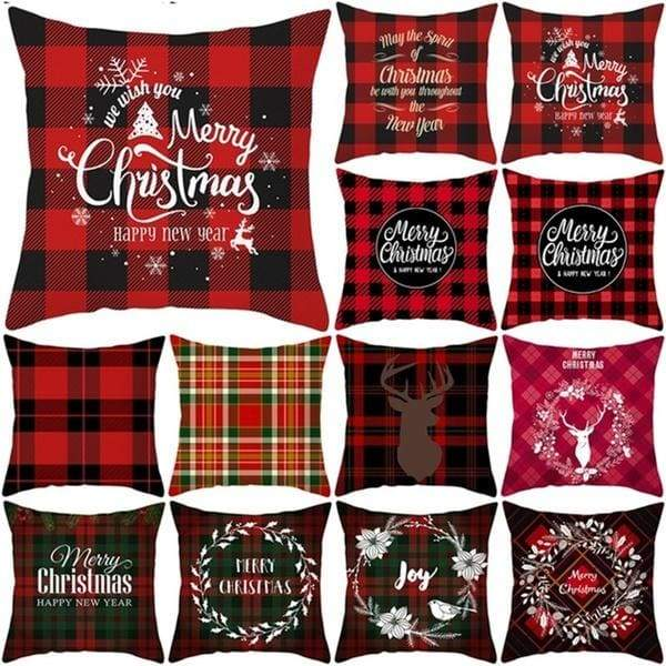 Christmas Plaid Pillow Case Decorative Pillow Covers Polyester Throw Pillow Case Cushion Cover 18' X 18' Home Decor