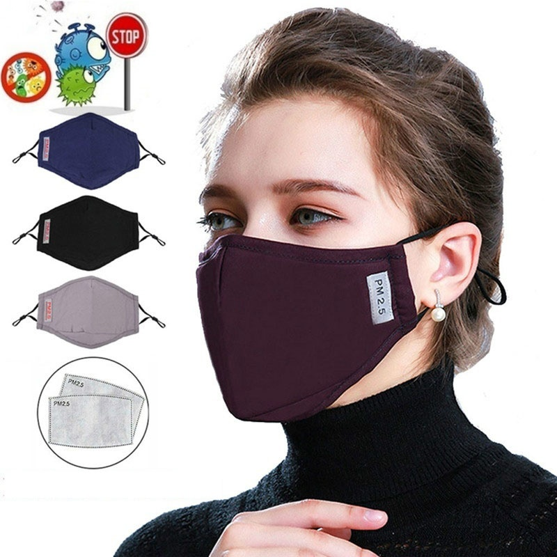 PM2.5 Cotton Mouth Mask  Anti Dust Mask Activated Carbon Filter Windproof Mouth-muffle Bacteria Proof Face Mask