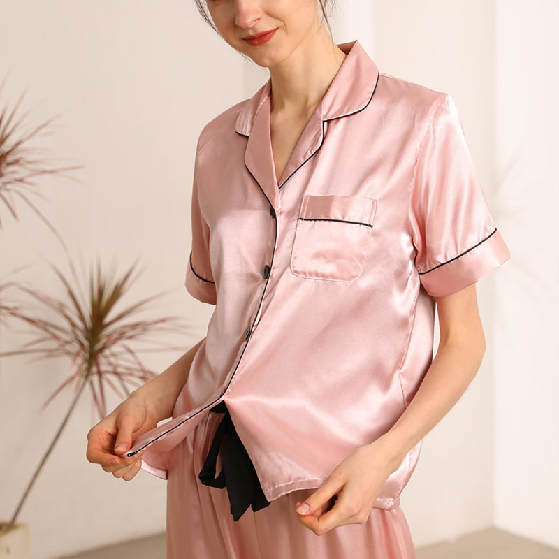 2-piece pink silk short-sleeved top + trousers pajamas