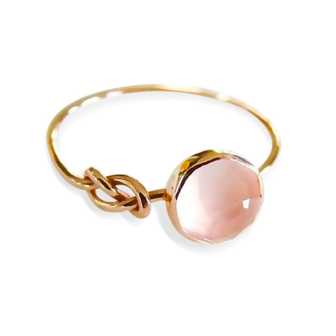 Pink Opal Lucky Knot Infinity Ring