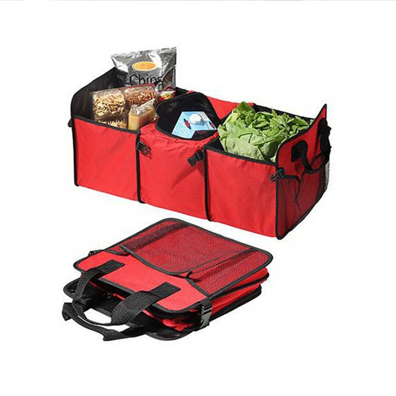 Multi-functional Folding Trunk Car Boot Organizer Bag with 3 Compartments