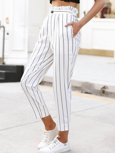 Summer Striped Pants Button Pinstripe Pants Womens