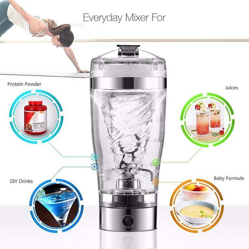 BREEZYLIVE 450ml Electric Detachable Blender Vortex Protein Shaker Bottle