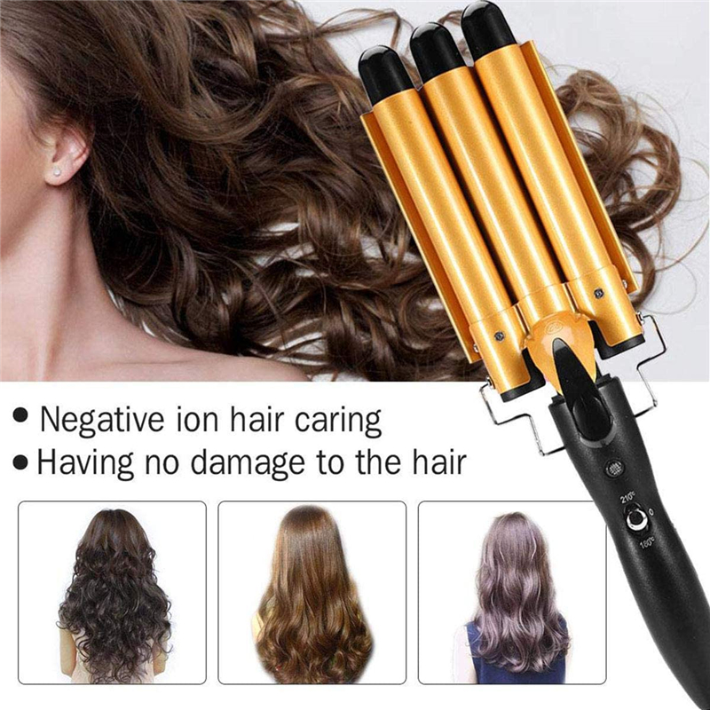 25cm Yellow Three Barrel Curling Iron Wand with LCD Display