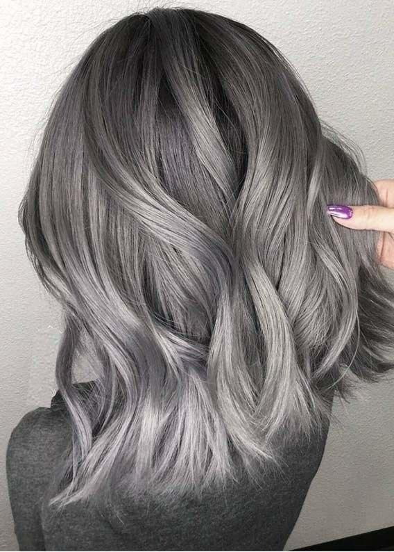 2020 Best Lace Front Wigs Medium Length Silver Hair Best Hair Color To Hide Gray Blue Purple Hair Straight Ombre Lace Front Wig