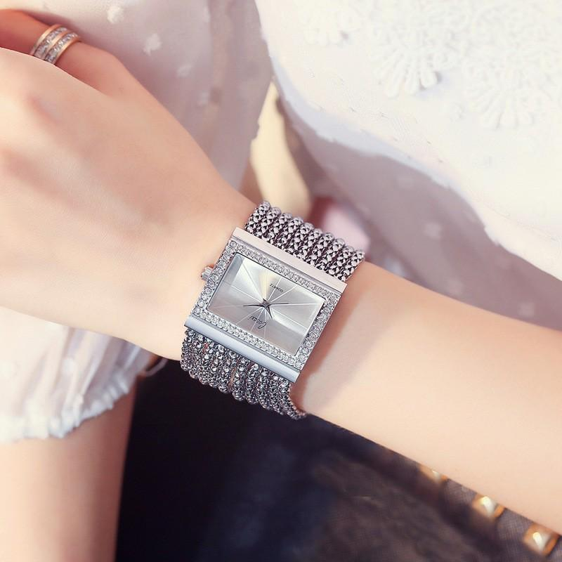 Classic crystal golden square watch