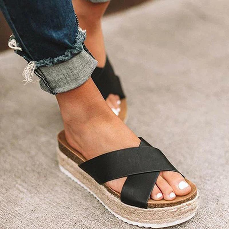 Wedge Slip On Peep Toe Beach Sandals