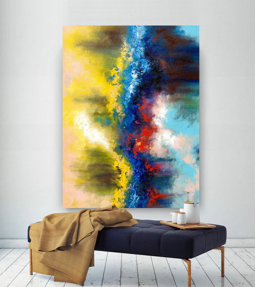 Extra Large Wall Art on Canvas, Original Abstract Paintings , Contemporary Art, Mdoern Living Room Decor ,Office Oversize Artworks lac641