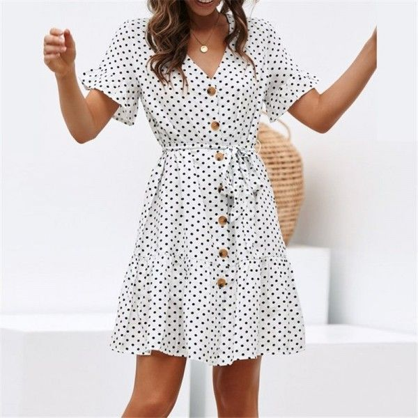 2020 Women Dress Casual Dress Print White Flowy Dress Upscale Business Casual
