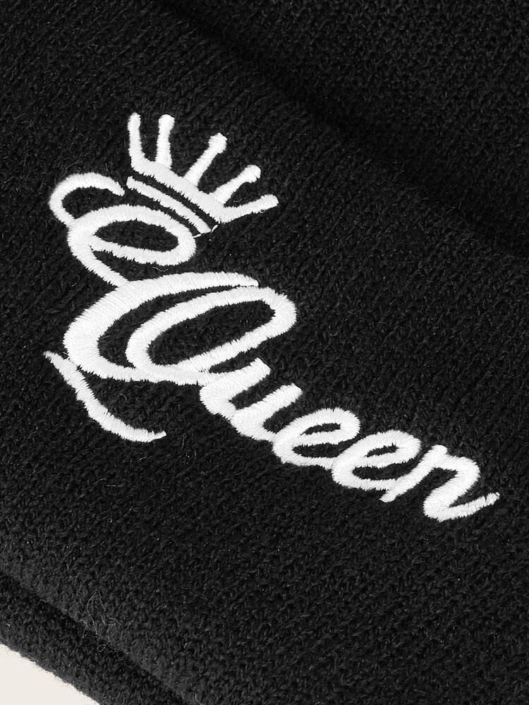 Letter Embroidery Cuffed Beanie