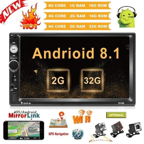 Newest 2 Din Android 8.1 GPS Car Stereo Radio Upgraded 2+16G/32G Car Multimedia Player with Bluetooth WIFI FM Radio + CAM