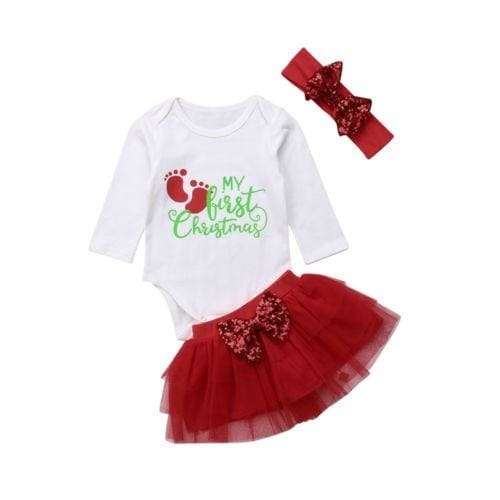 My 1st Christmas Baby Girls Princess Romper+Tutu Skirts Dress Outfit Clothes Set