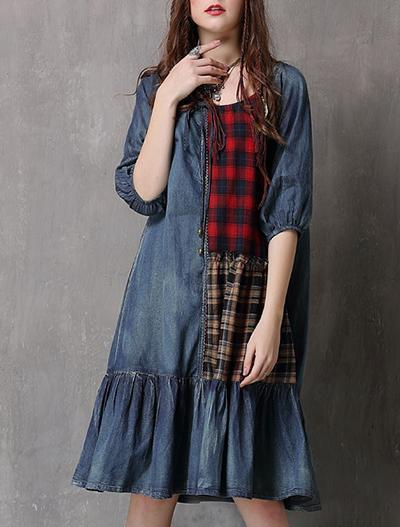 Retro Plaid Stitching Denim Dress