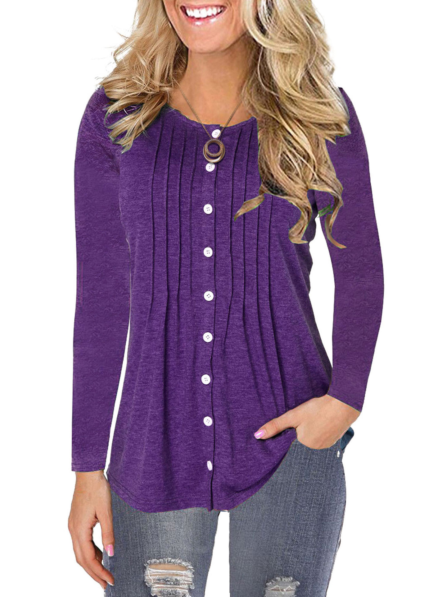 Ladies new pleated button top