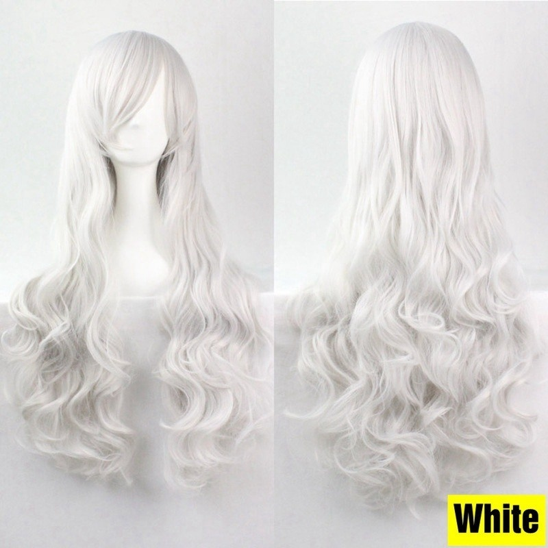Fashion Women Heat Resistant Long Wavy Curly Cosplay Wigs Solid Hair Full Wig Festive Wigs 19 Colors