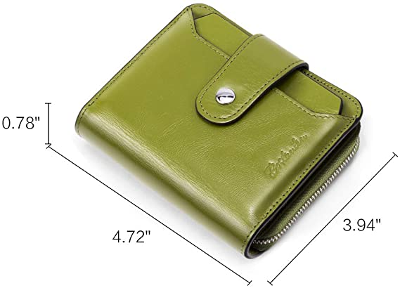 Leather Wallets for Women RFID Blocking Zipper Pocket Small Bifold Wallet Card Case