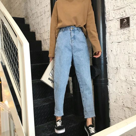 2020 New Women Jeans Ladies Black Work Trousers Casual Back To School Outfits Funky Festival Clothes Boys Dress Pants