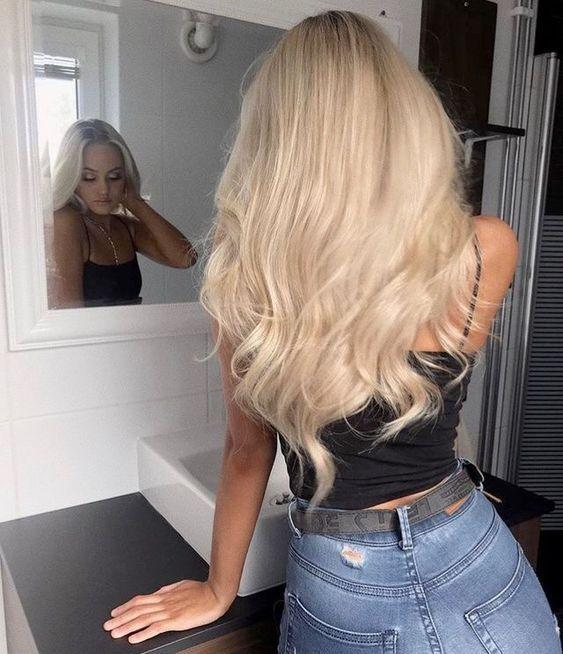 2020 Fashion Ombre Blonde Wigs Black Lace Front Wig Human Hair