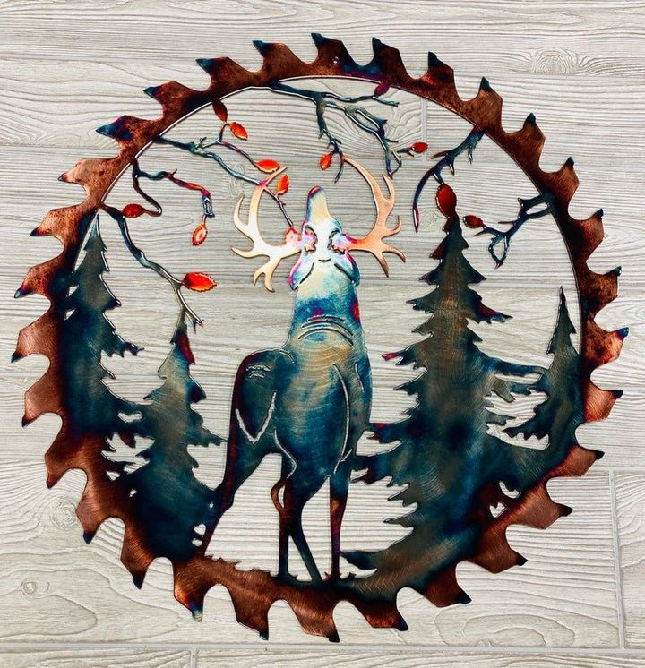 【Father's Day Sales-50%OFF】Elk Saw Blade - Wall Metal Art Home Decor