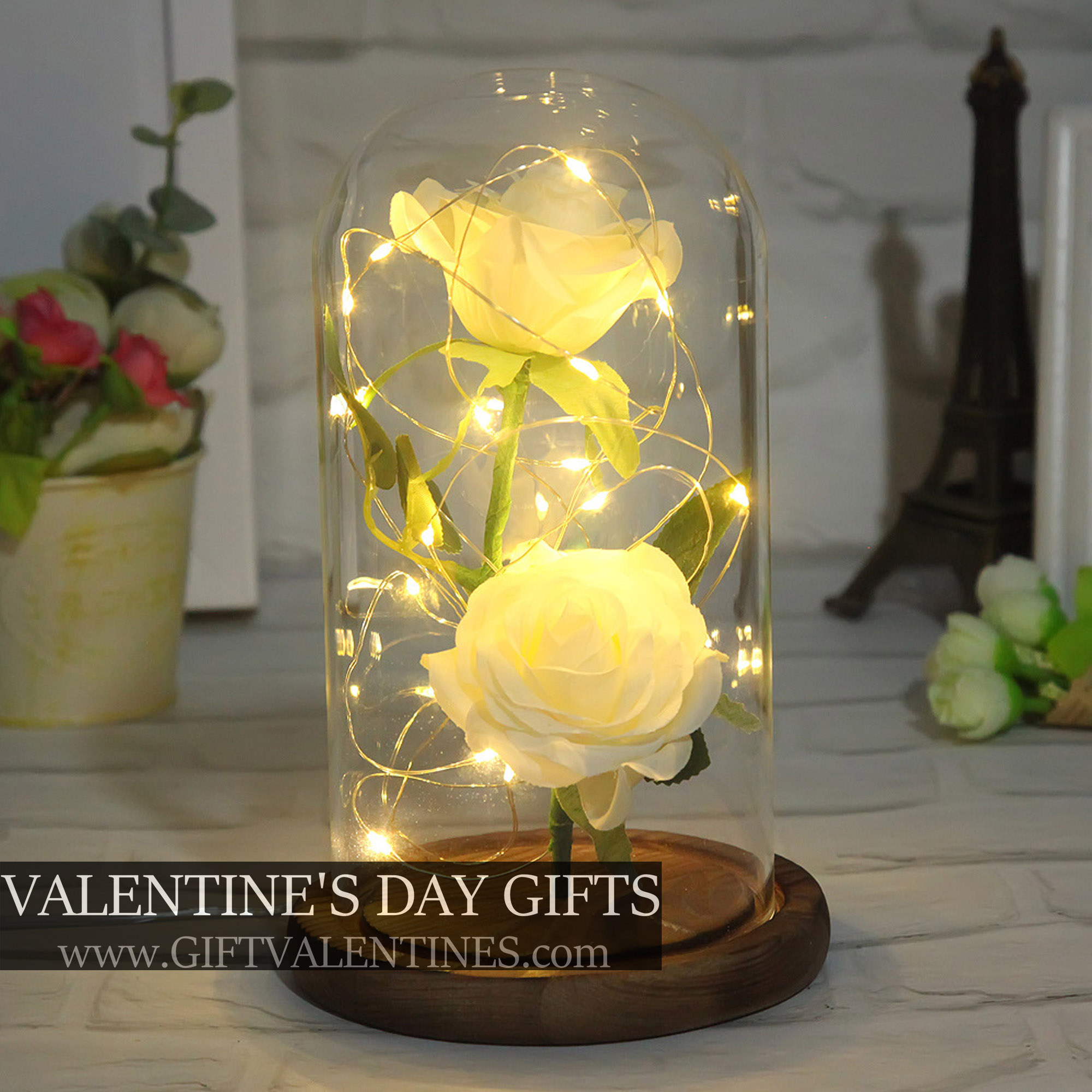 Forever Galaxy Rose | Double White Flower With LED Lights