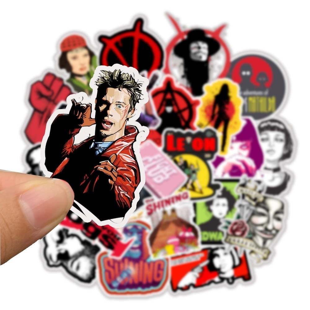 50pcs/pack Classic Movie Stickers Pulp Fiction/Edward Scissorhands/The Godfather Leon Graffiti Stickers for  Luggage Car Moto Laptop Bicycle Skateboard Stickers