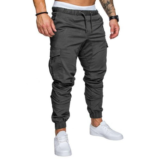 2020 Men New Casual Cargo Pants Plus Size Sport Joggers Trousers Black Fitness Gym Clothing Pockets Leisure Sweatpants