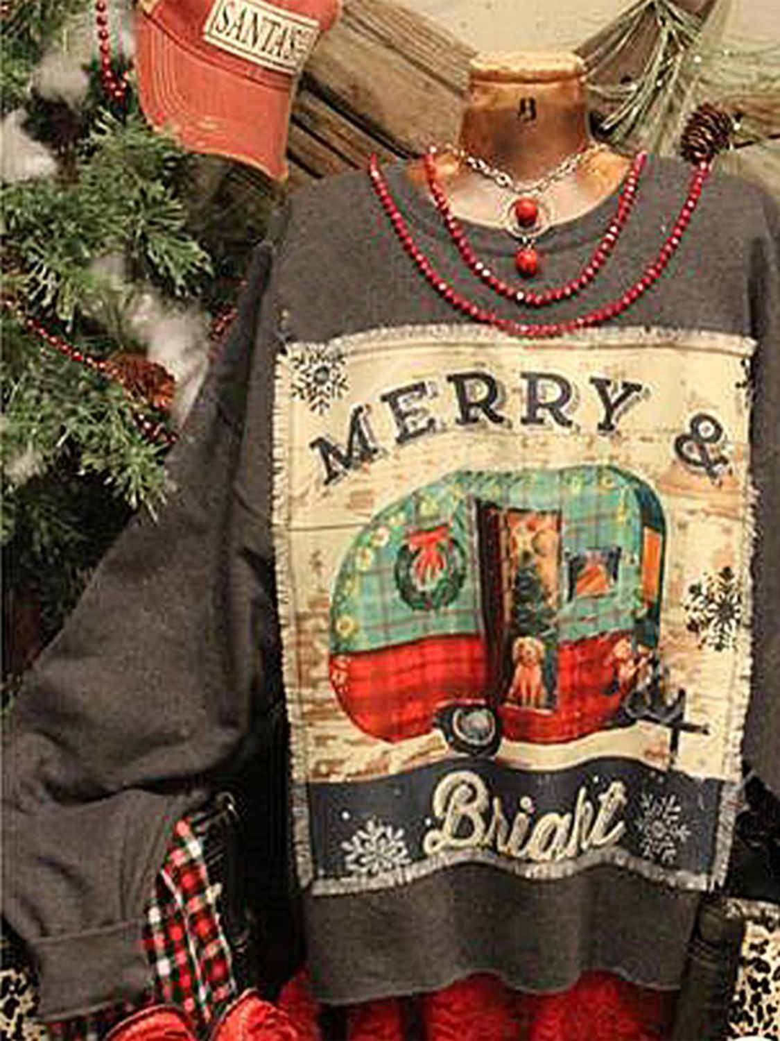 Christmas Printed Patchwork Oversized Pullovers Sweatshirts