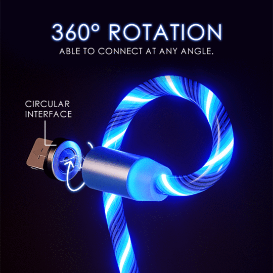 (BUY MORE SAVE MORE)Glowing LED Magnetic 3 in 1 USB 2M Charging Cable
