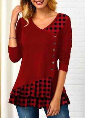 Long-sleeved plaid irregular stitching V-neck T-shirt