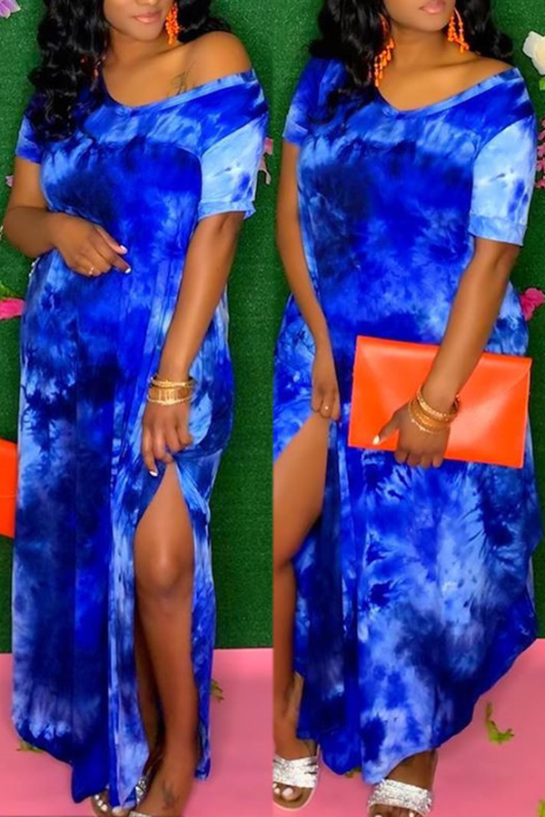 Tie-dye Short Sleeve Split Dress