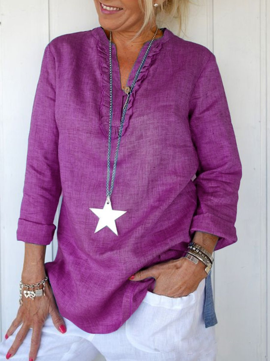 V neck Solid Long Sleeve Casual Shirt