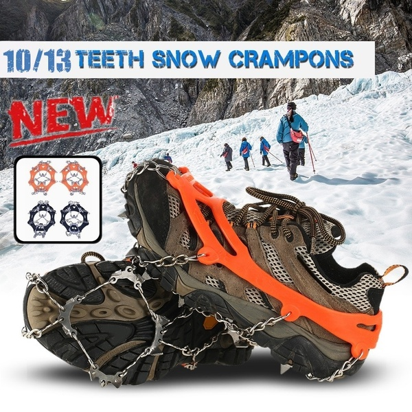 10/13 Teeth Snow Crampons Anti-Slip Ice Gripper Cleats Shoe Boot Grips For Outdoor Hiking Climbing