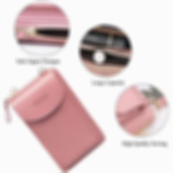 Women's Fashion Solid Multi-card Slots Waterproof Zipper Phone Bag