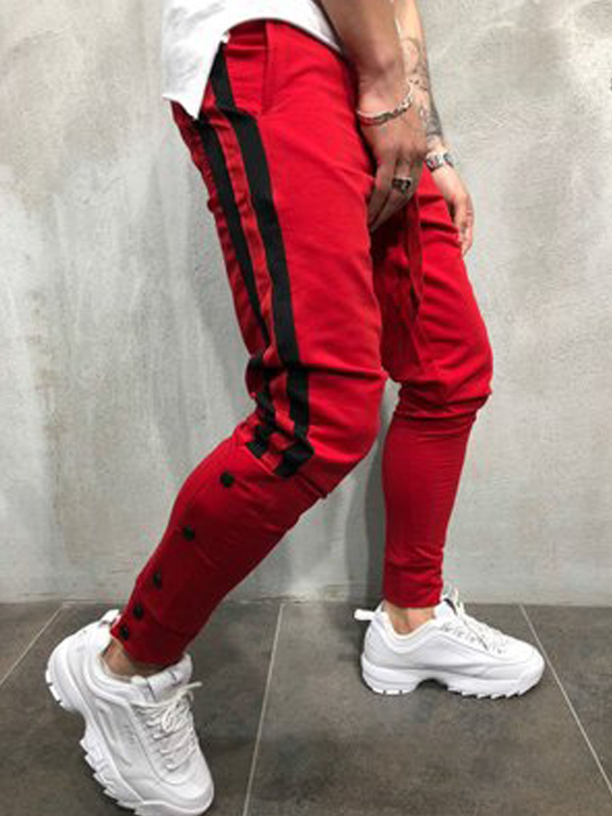 Casual Striped Slightly Stretchy Sports Pants