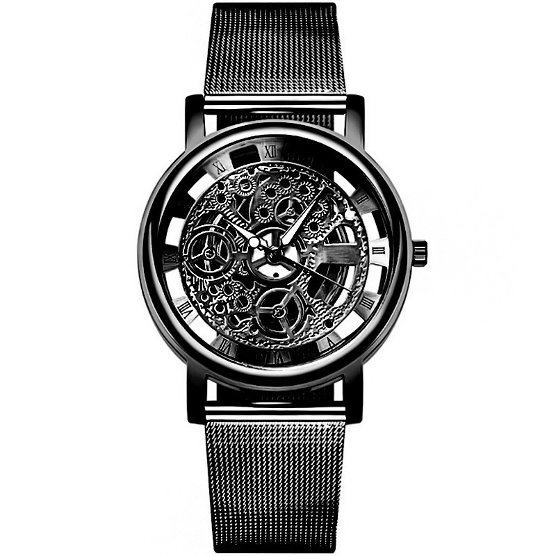 Business Men'S Fashion Hollow Out Quartz Watch Stainless Steel Mesh Belt Dial Pointer Roman Word Round Casual Men'S Watch Relogio Masculino