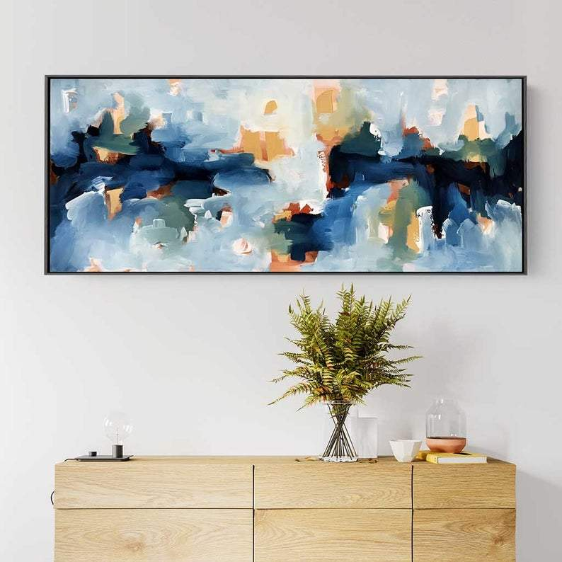 Original Large Abstract Painting, Acrylic Painting on Canvas. Extra Large Painting - Wall Art, Modern Texture Yellow, Blue, White, Brown Art
