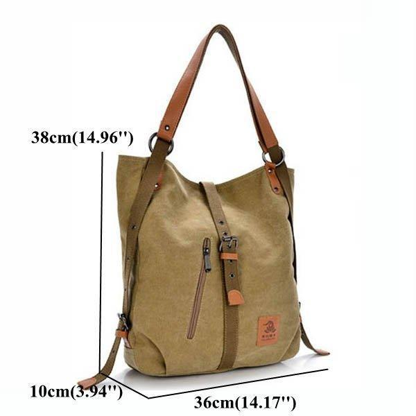 Women Canvas Bag Large Capacity Multifunctional Casual Microfiber Handbag Shoulder Bags Backpack