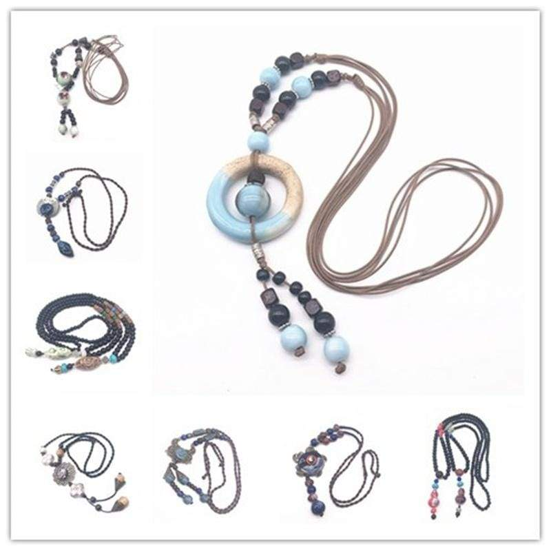 Fashion Ceramics Beads Pendant Ethnic Long Necklace Chain Blue&Red Jewelry Style DIY