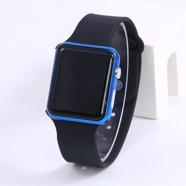 2019Square Mirror Face Silicone Band Digital Watch Red LED Watches Metal Frame WristWatch Sport Clock Hours