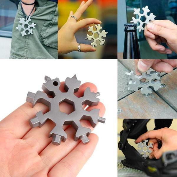 18 in 1 snowflake multi pocket tool spanner hex wrench multifunction